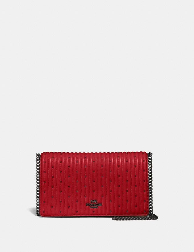 Coach Callie Foldover Chain Clutch With Quilting and Rivets Red Apple/Pewter Women Bags Crossbody Bags