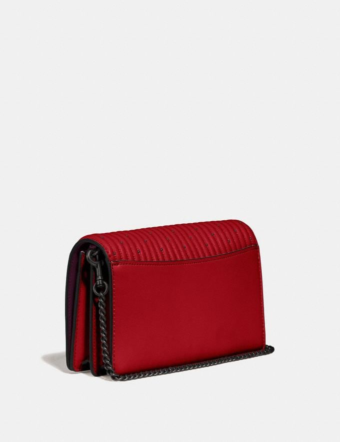 Coach Callie Foldover Chain Clutch With Quilting and Rivets Red Apple/Pewter Women Bags Crossbody Bags Alternate View 1