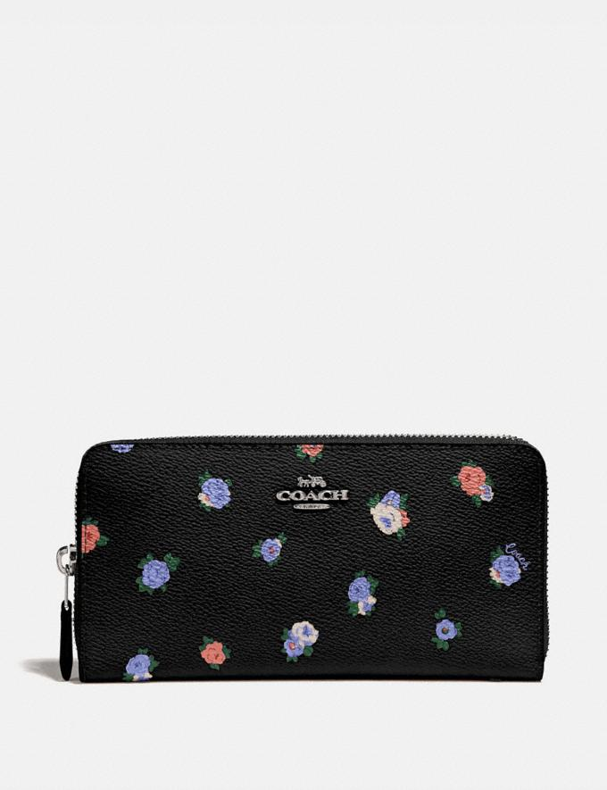 Coach Accordion Zip Wallet With Vintage Rosebud Print Black Multi/Gunmetal New Women's New Arrivals Wallets & Wristlets