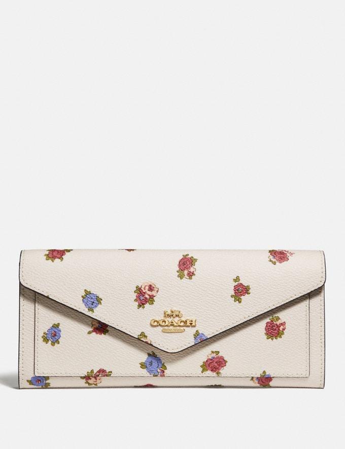 Coach Soft Wallet With Vintage Rosebud Print Chalk Multi/Gold New Women's New Arrivals Wallets & Wristlets
