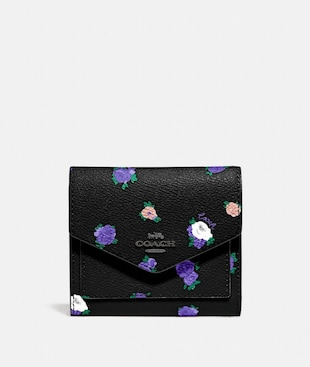 SMALL WALLET WITH VINTAGE ROSEBUD PRINT
