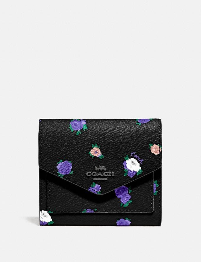Coach Small Wallet With Vintage Rosebud Print Black Multi/Gunmetal Women Wallets & Wristlets Small Wallets