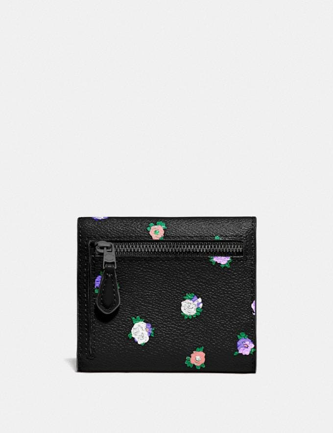 Coach Small Wallet With Vintage Rosebud Print Black Multi/Gunmetal SALE 30% off Select Styles 30% off Alternate View 1