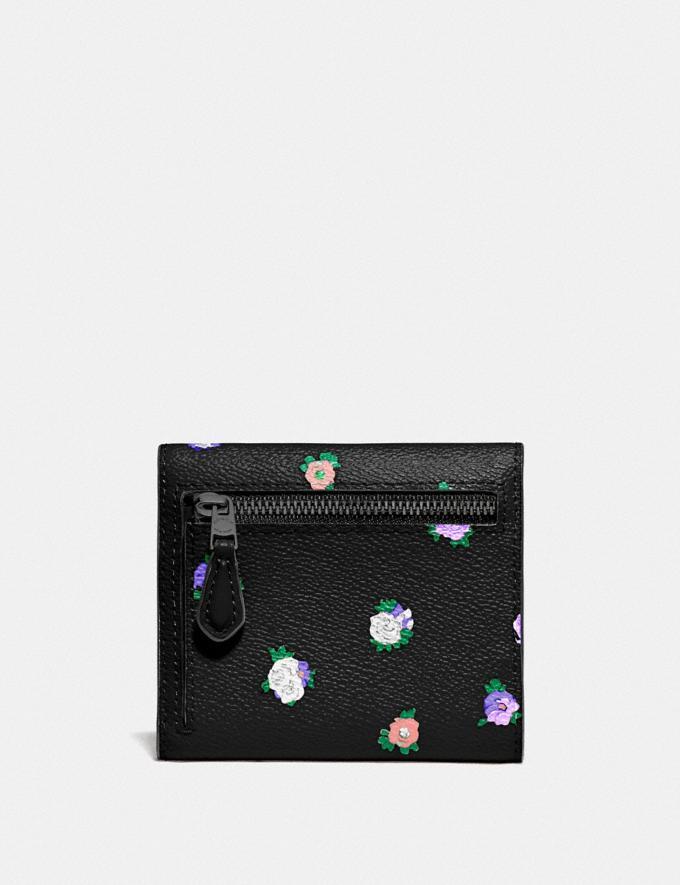 Coach Small Wallet With Vintage Rosebud Print Black Multi/Gunmetal Women Wallets & Wristlets Small Wallets Alternate View 1
