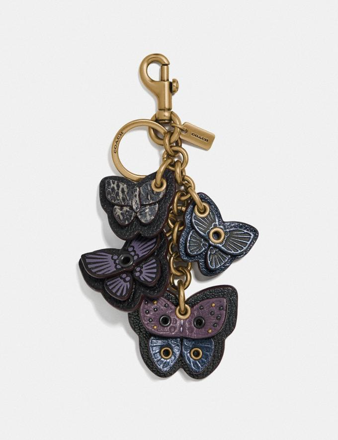 Coach Butterfly Cluster Bag Charm With Snakeskin Detail B4/Dusty Lavender Women Accessories Bag Charms & Key Rings