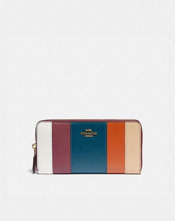 Coach ACCORDION ZIP WALLET WITH PATCHWORK STRIPES