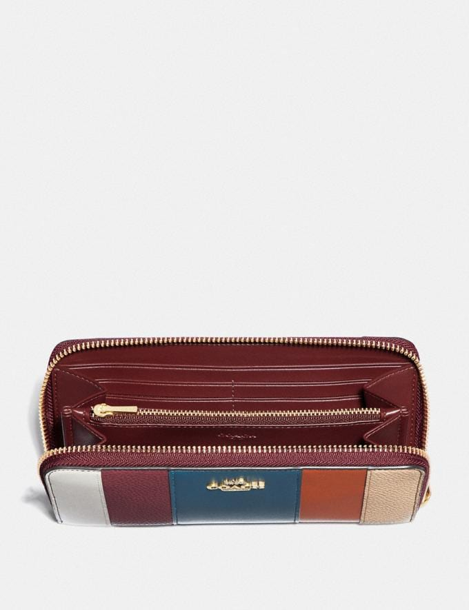 Coach Accordion Zip Wallet With Patchwork Stripes Oxblood Multi/Brass Women Small Leather Goods Large Wallets Alternate View 1