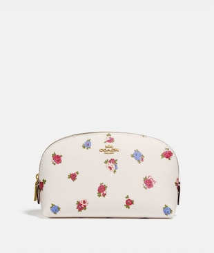 COSMETIC CASE 17 WITH VINTAGE ROSEBUD PRINT