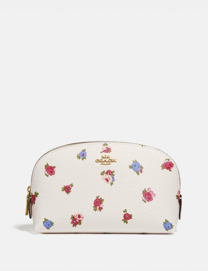 Coach Cosmetic Case 17 With Vintage Rosebud Print Chalk Multi/Gold New Women's New Arrivals Accessories