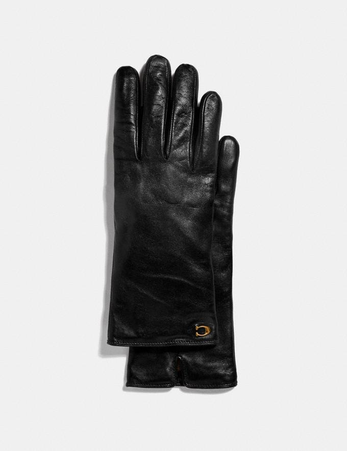 Coach Sculpted Signature Leather Tech Gloves Black Women Accessories Scarves and Gloves