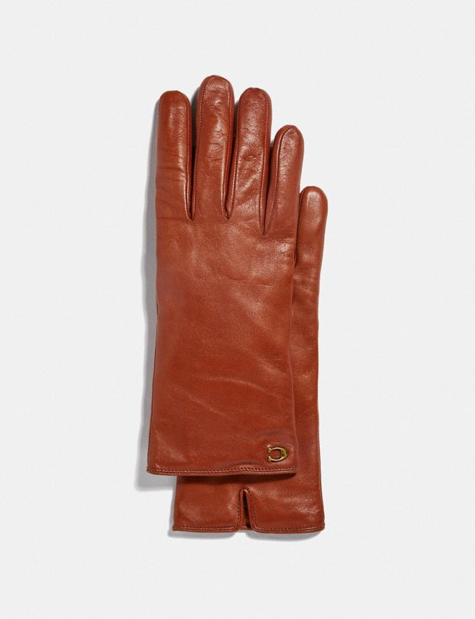 Coach Sculpted Signature Leather Tech Gloves Sunset New Women's New Arrivals Accessories