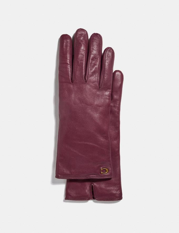 Coach Sculpted Signature Leather Tech Gloves Vintage Mauve