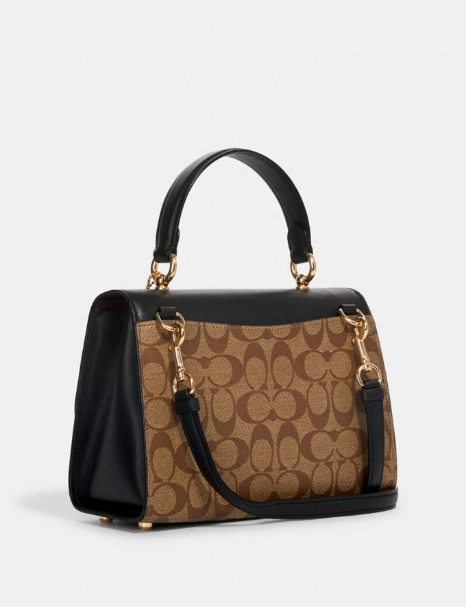 Coach Tilly Top Handle Satchel in Signature Canvas Im/Khaki/Black Gifts Gifts Gifts Under $200 Alternate View 1