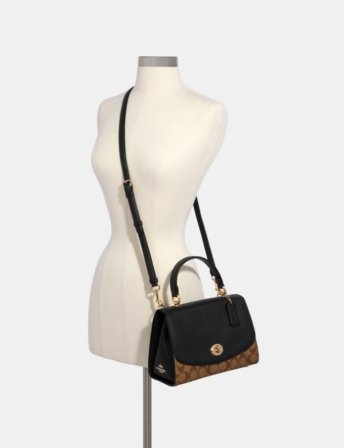 Coach Tilly Top Handle Satchel in Signature Canvas Im/Khaki/Black Gifts Gifts Gifts Under $200 Alternate View 3