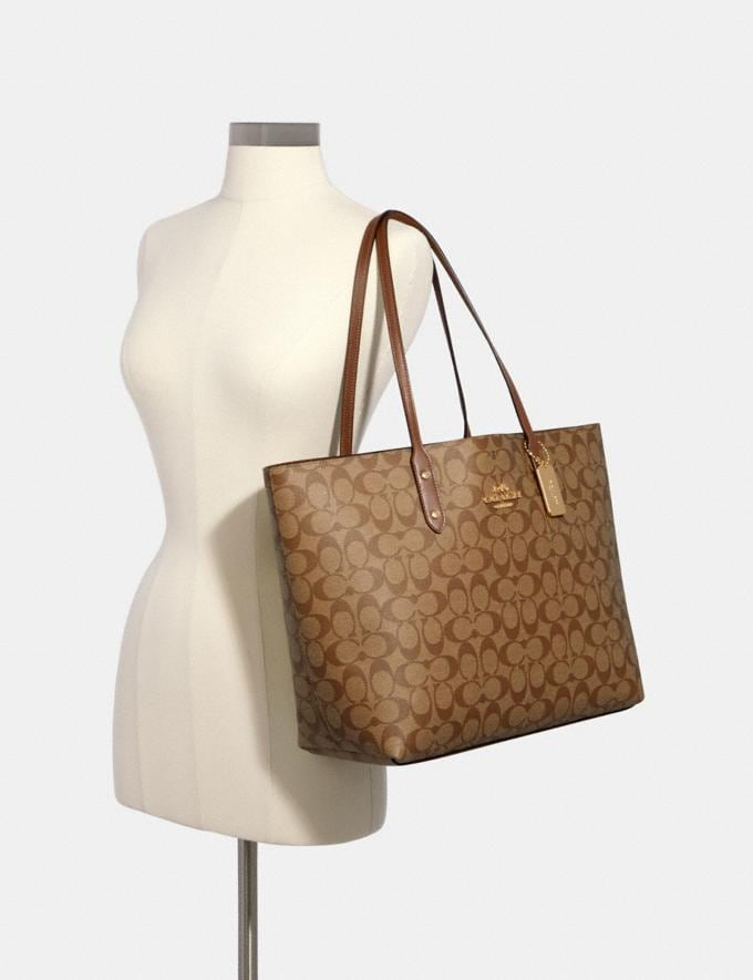 Coach Town Tote in Signature Canvas Im/Light Khaki Blossom Deals Deals Of The Week Alternate View 3