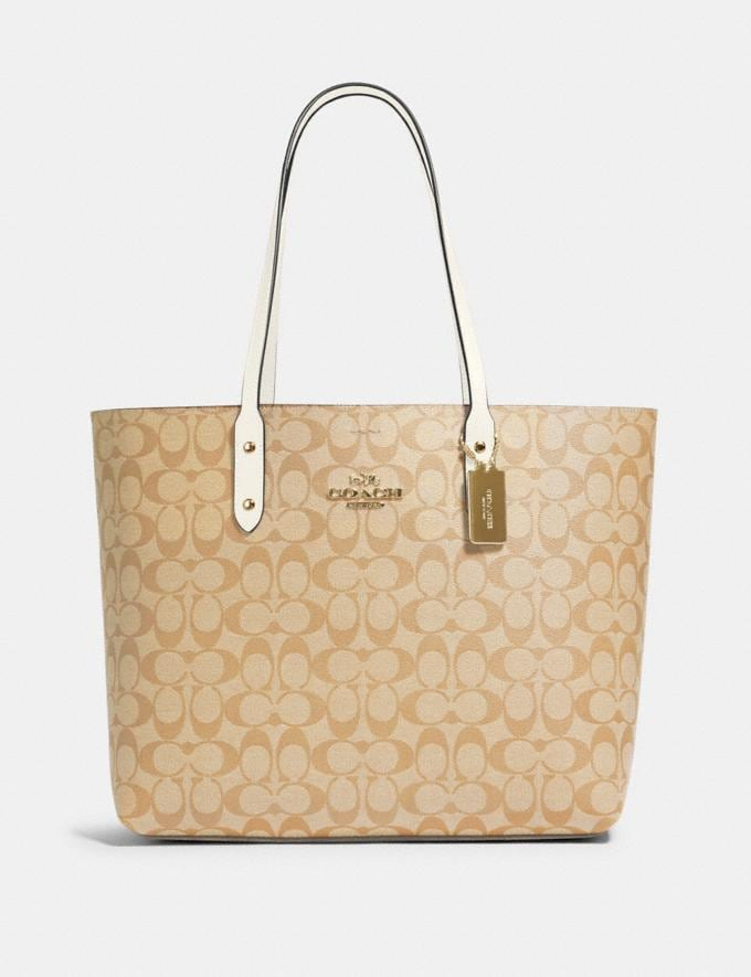 Coach Town Tote in Signature Canvas Im/Light Khaki Chalk