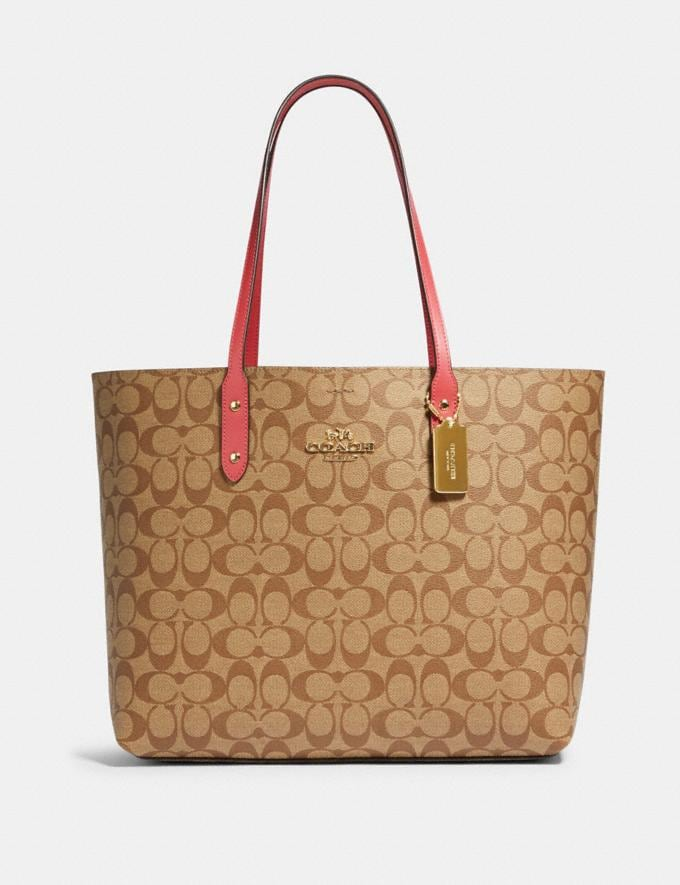 Coach Town Tote in Signature Canvas Qb/Brown Pink Lemonade Women Bags