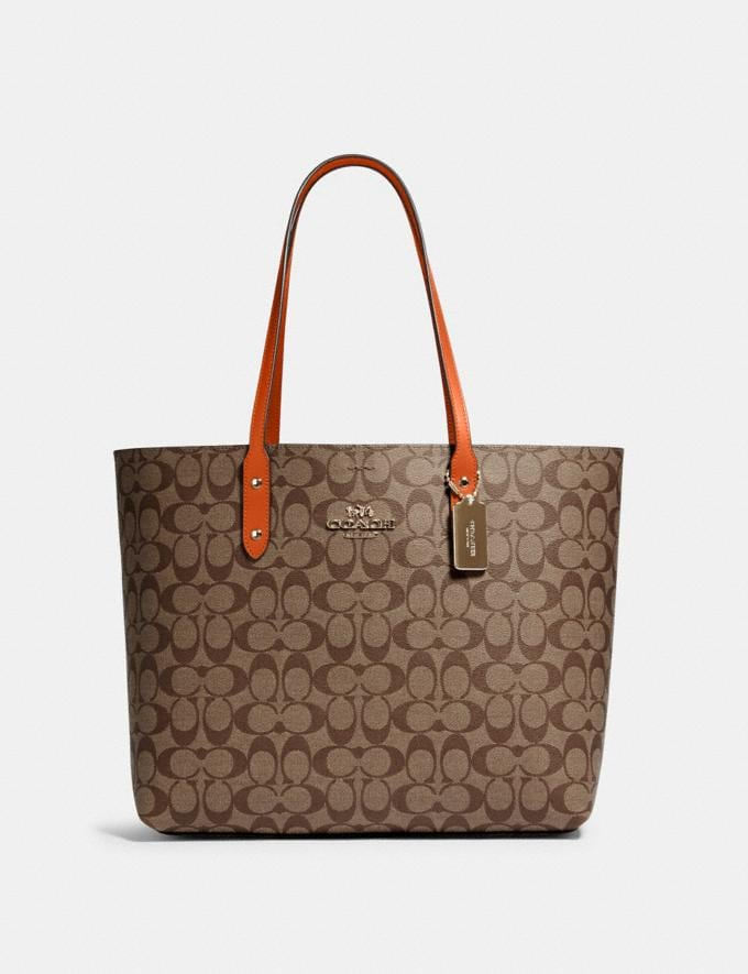 Coach Town Tote in Signature Canvas Im/Khaki Sedona Deals