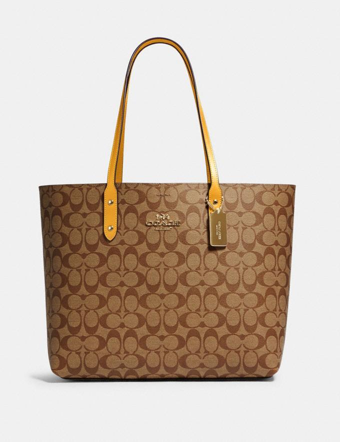 Coach Town Tote in Signature Canvas Qb/Khaki Honey Handbags Handbags