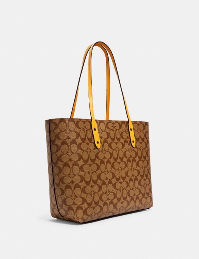 Coach Town Tote in Signature Canvas Qb/Khaki Honey Handbags Handbags Alternate View 1