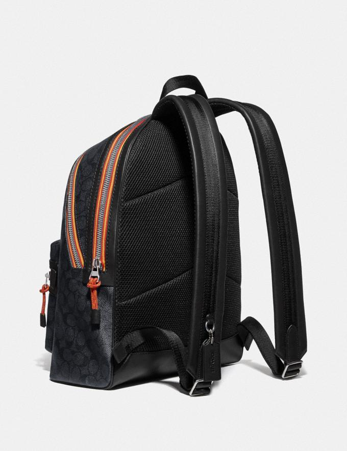 Coach Academy Backpack in Signature Canvas With Varsity Zipper Silver/Charcoal Multi New Men's New Arrivals View All Alternate View 1