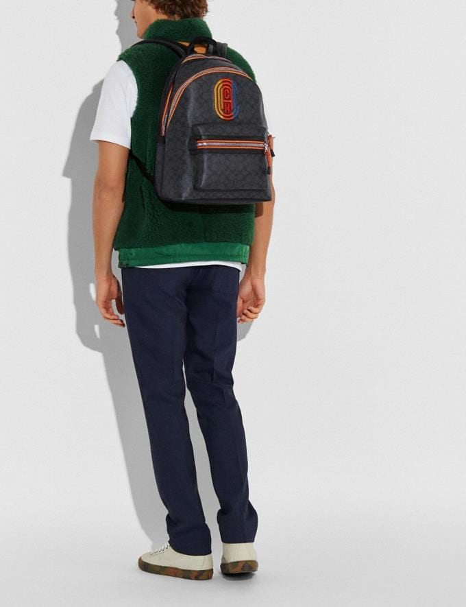 Coach Academy Backpack in Signature Canvas With Varsity Zipper Silver/Charcoal Multi New Men's New Arrivals View All Alternate View 3
