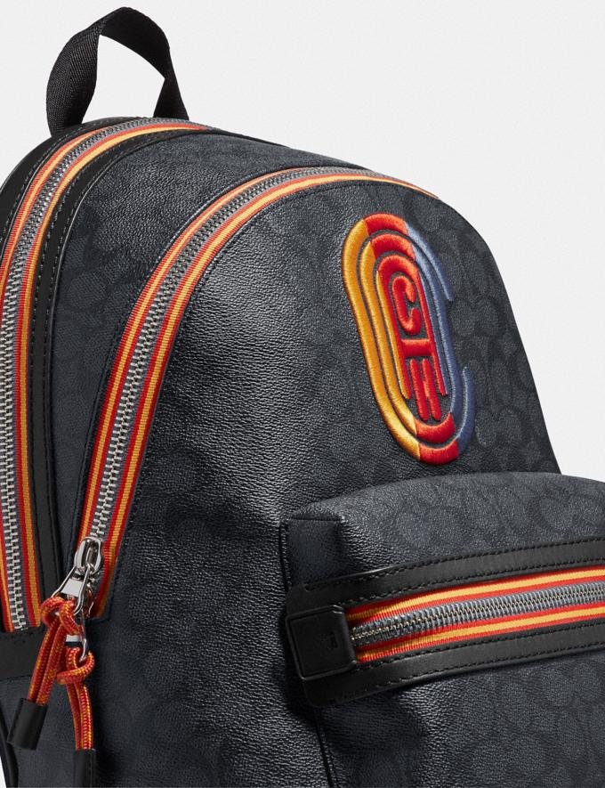 Coach Academy Backpack in Signature Canvas With Varsity Zipper Silver/Charcoal Multi New Men's New Arrivals View All Alternate View 4