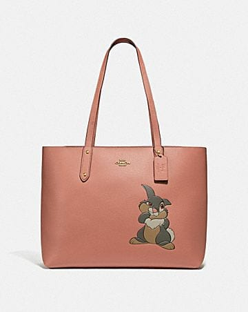 disney x coach central tote with zip with thumper motif