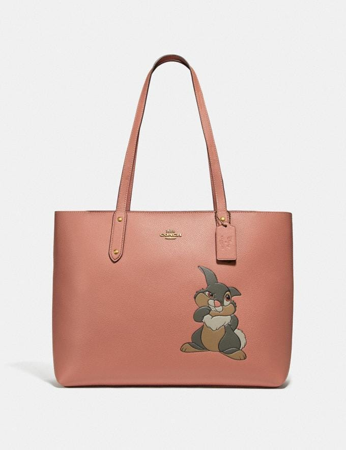 Coach Disney X Coach Central Tote With Zip With Thumper Motif Brass/Light Peach New Featured Disney X Coach