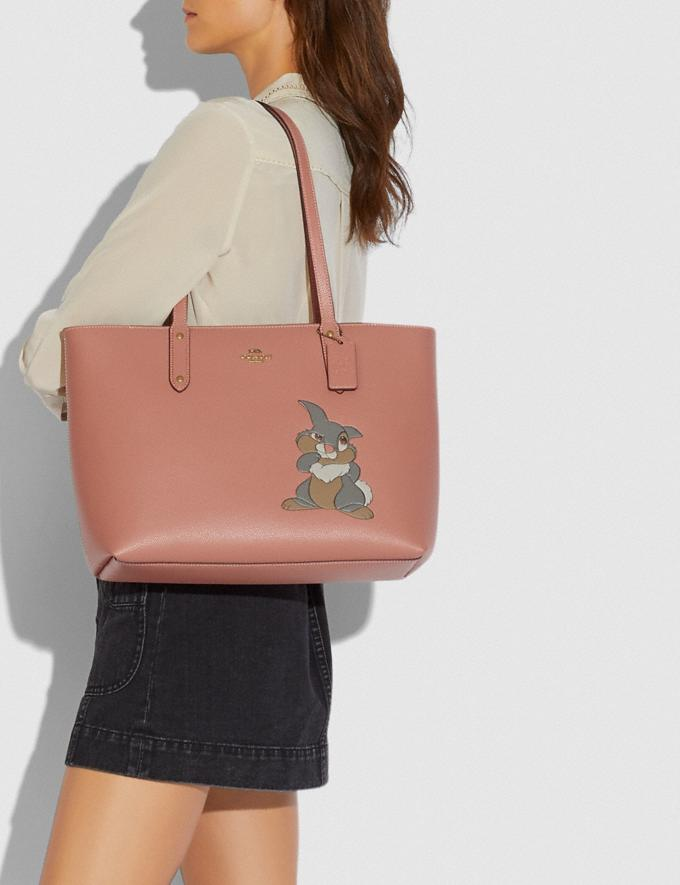 Coach Disney X Coach Central Tote With Zip With Thumper Motif Brass/Light Peach New Featured Disney X Coach Alternate View 3
