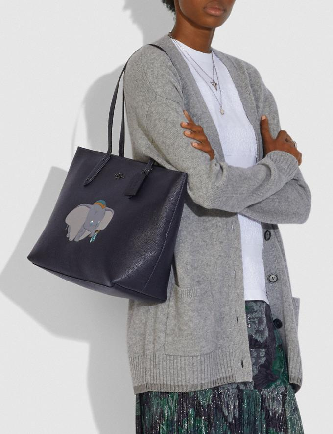 Coach Disney X Coach Central Tote With Zip With Dumbo Motif Pewter/Ink Women Handbags Totes & Carryalls Alternate View 3