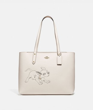 DISNEY X COACH CENTRAL TOTE WITH ZIP WITH DALMATIAN MOTIF