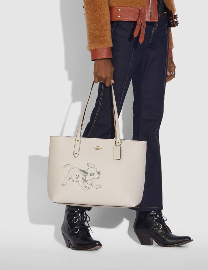 Coach Disney X Coach Central Tote With Zip With Dalmatian Motif Brass/Chalk New Featured Disney X Coach Alternate View 3
