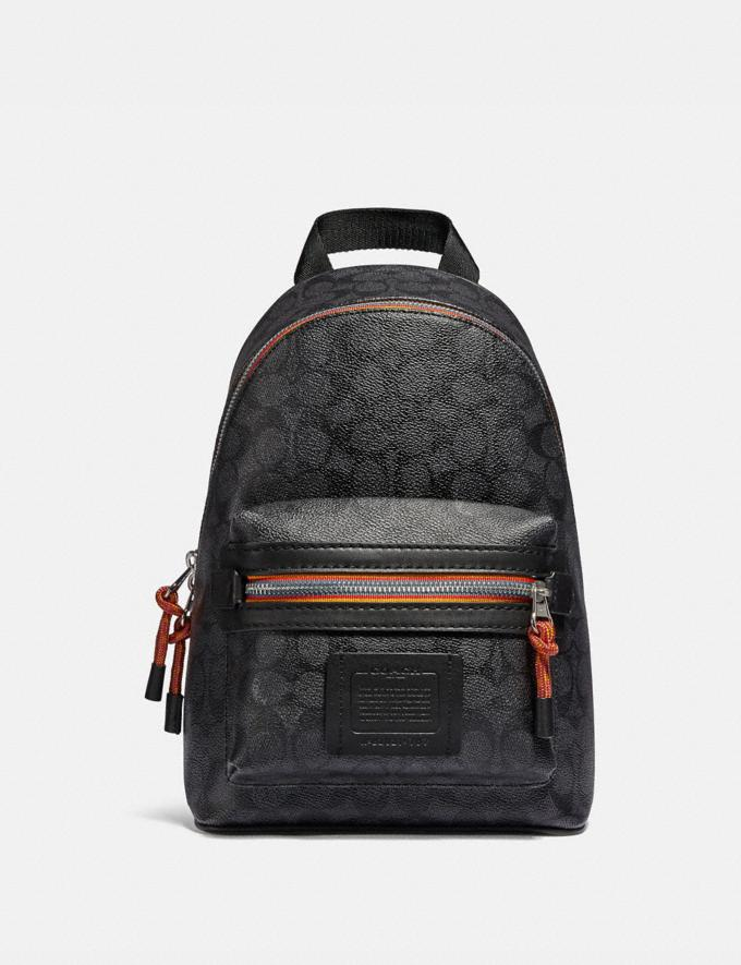 Coach Academy Pack in Signature Canvas With Varsity Zipper Silver/Charcoal Multi Men Bags Backpacks