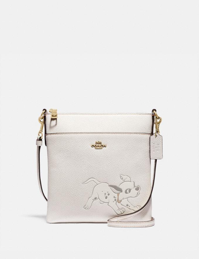 Coach Disney X Coach Kitt Messenger Crossbody With Dalmatian Motif Brass/Chalk Women Handbags Crossbody Bags