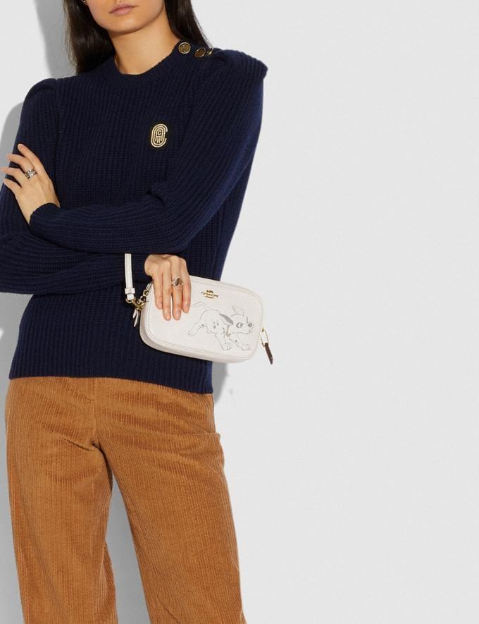 Coach Disney X Coach Sadie Crossbody Clutch With Dalmatian Motif Brass/Chalk Women Handbags Crossbody Bags Alternate View 3