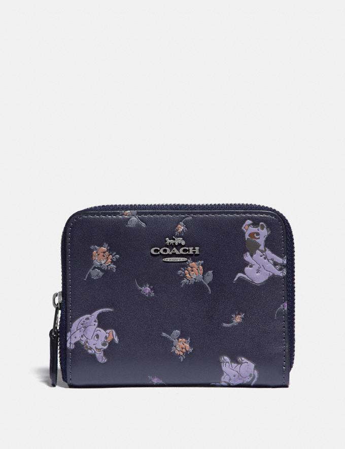 Coach Disney X Coach Small Zip Around Wallet With Mixed Dalmatian Print Pewter/Ink Women Wallets & Wristlets Small Wallets