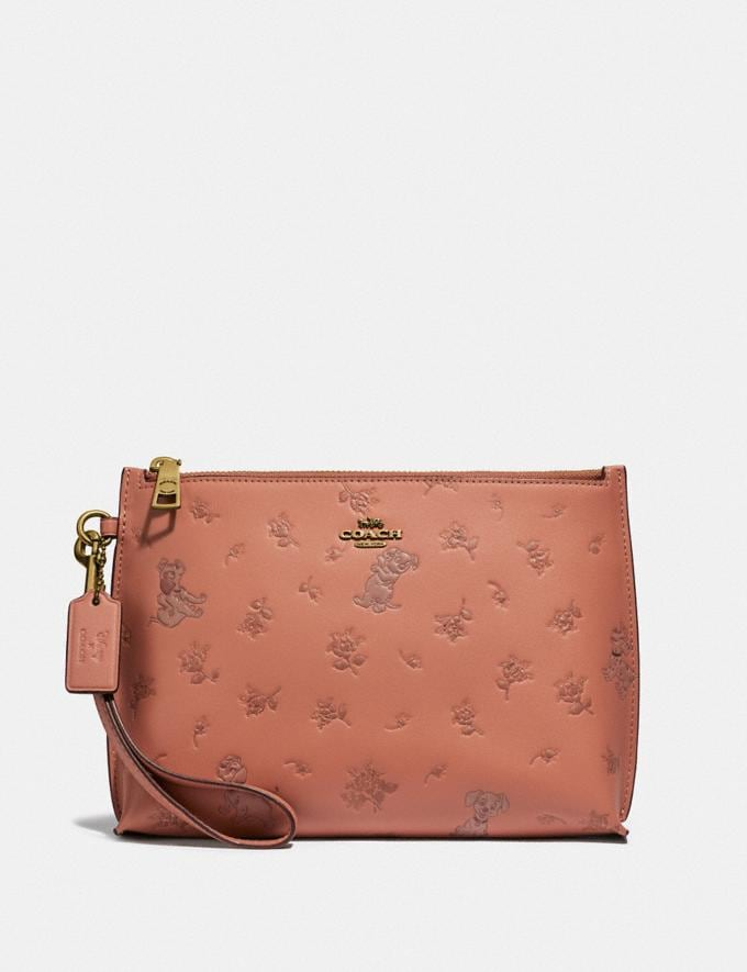 Coach Disney X Coach Charlie Pouch With Mixed Dalmatian Print Brass/Light Peach New Women's New Arrivals Wallets & Wristlets