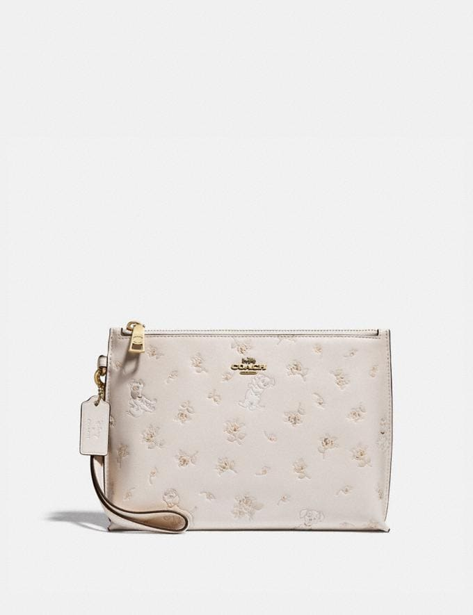 Coach Disney X Coach Charlie Pouch With Mixed Dalmatian Print Brass/Chalk New Featured Disney X Coach