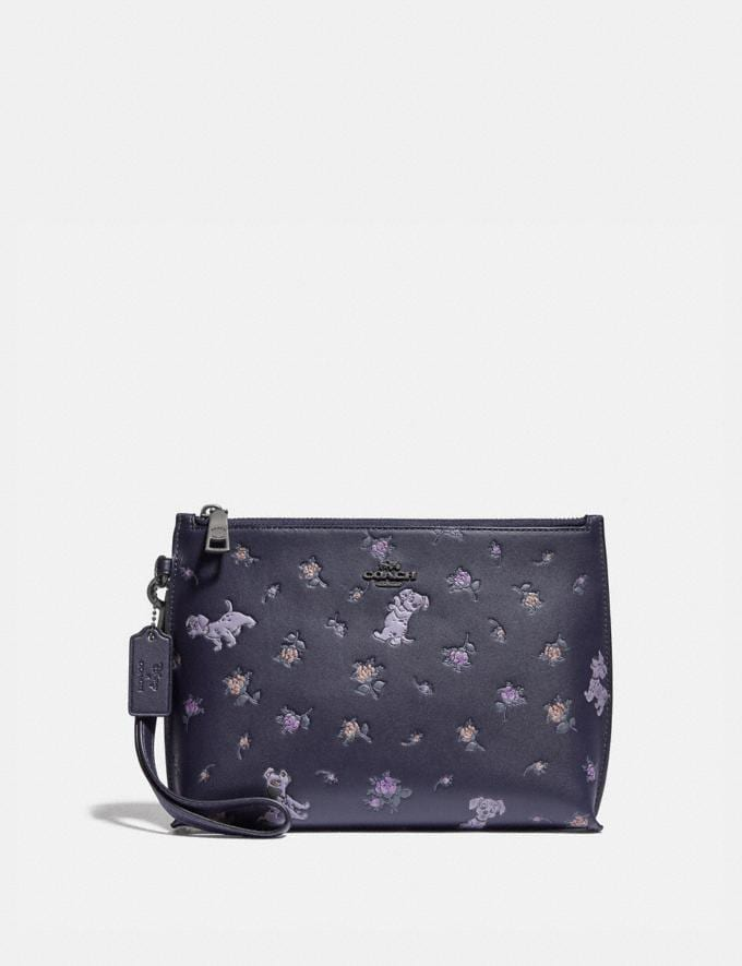 Coach Disney X Coach Charlie Pouch With Mixed Dalmatian Print Pewter/Ink New Women's New Arrivals Accessories