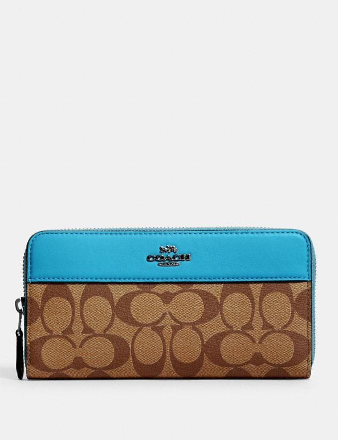 Coach Accordion Zip Wallet in Signature Canvas Sv/Khaki/Aqua Accessories Wallets
