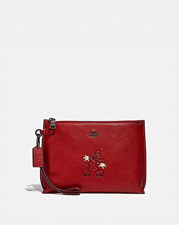 disney x coach charlie pouch with mickey mouse motif