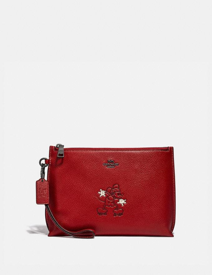 Coach Disney X Coach Charlie Pouch With Mickey Mouse Motif Pewter/1941 Red New Featured Disney X Coach
