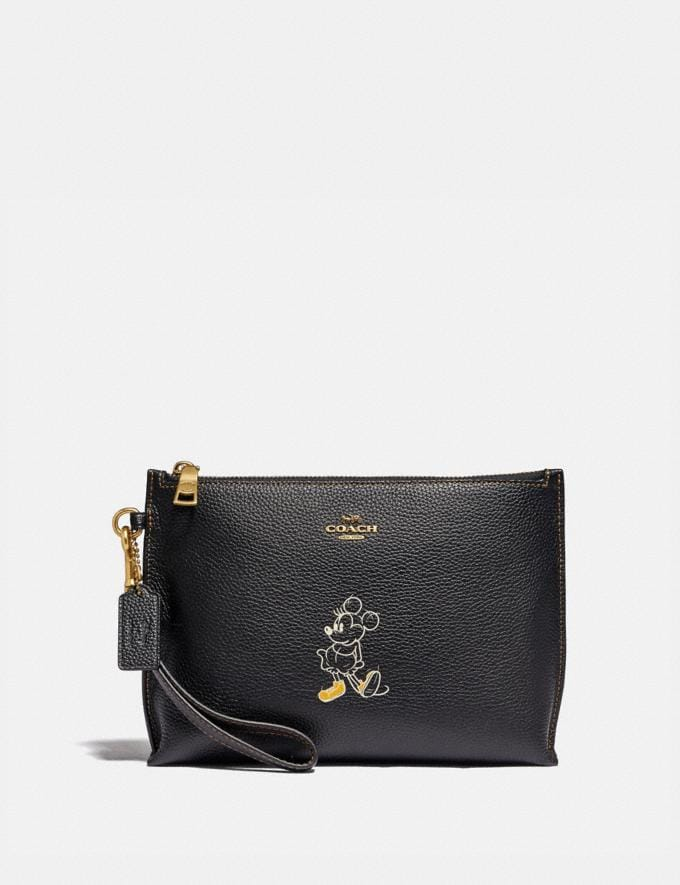 Coach Disney X Coach Charlie Pouch With Minnie Mouse Motif Brass/Black New Featured Disney X Coach