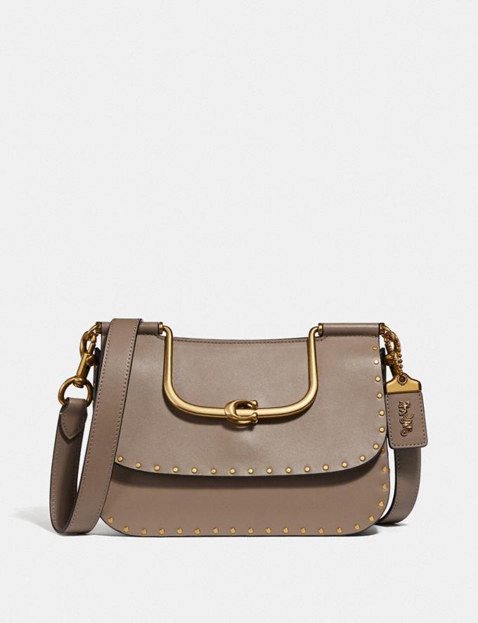 Coach Ellie Crossbody With Rivets Stone/Brass Women Handbags Crossbody Bags