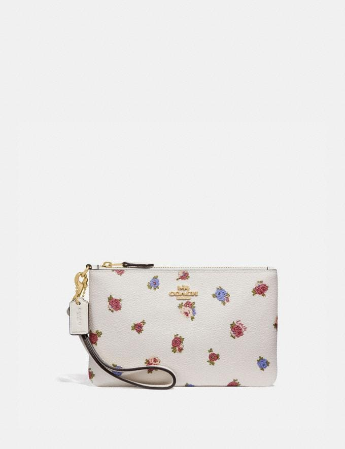 Coach Small Wristlet With Vintage Rosebud Print Chalk Multi/Gold New Women's New Arrivals Wallets & Wristlets