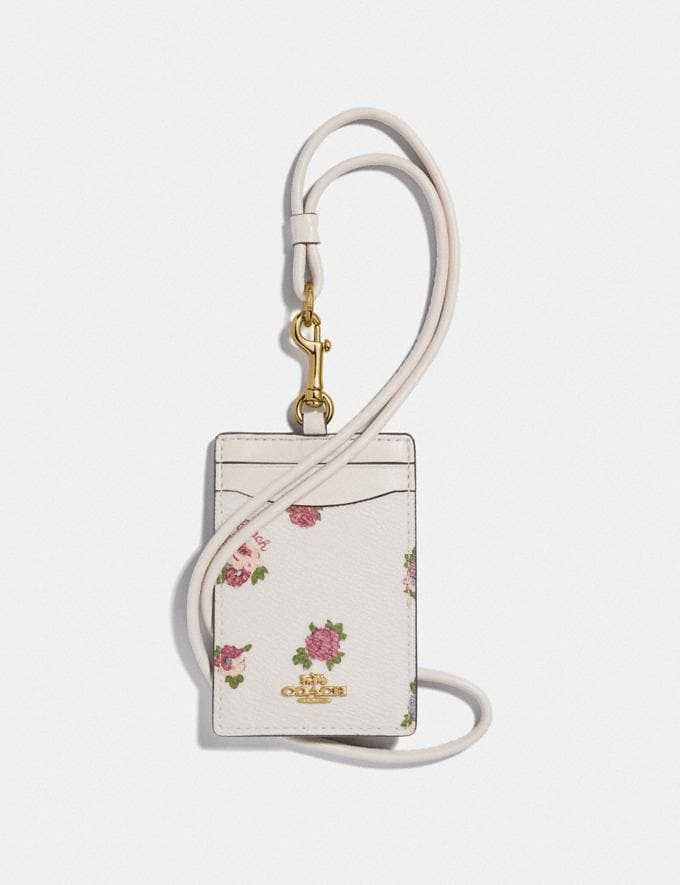 Coach Id Lanyard With Vintage Rosebud Print Chalk Multi/Gold New Women's New Arrivals Accessories