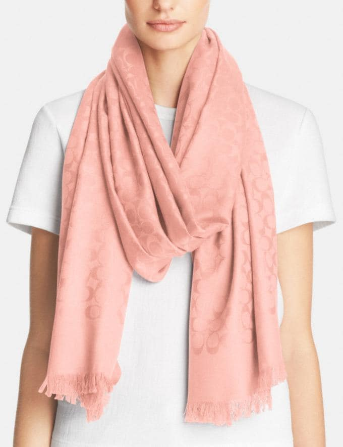Coach Signature Stole Blush Women Accessories Scarves Alternate View 1