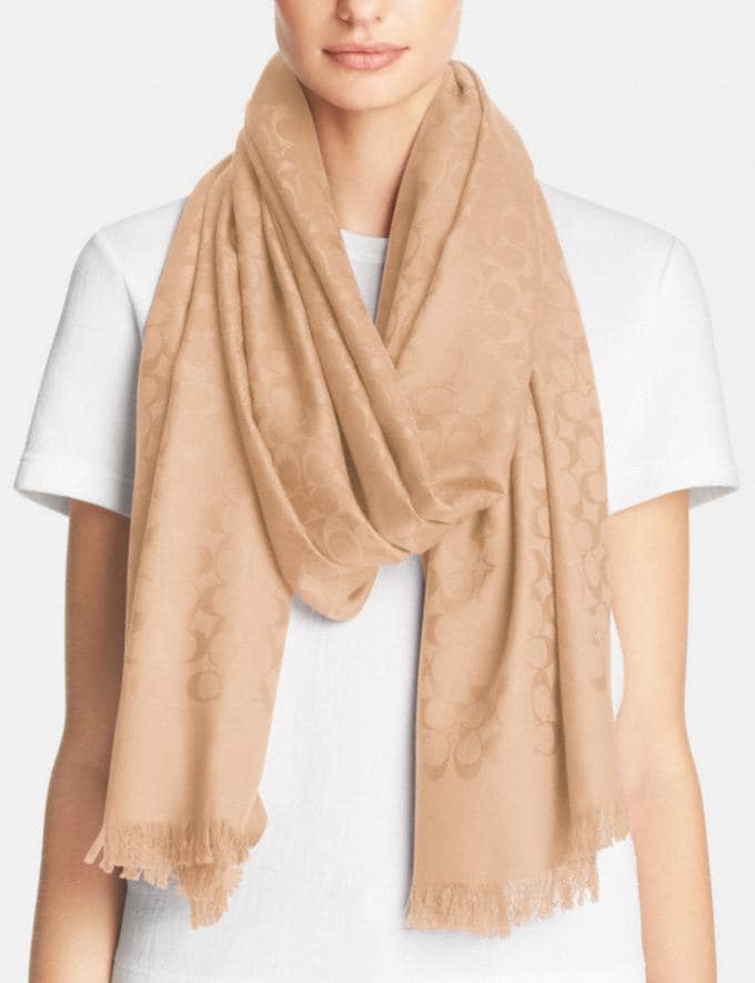 Coach Signature Stole Champagne Gifts For Her Valentine's Gifts Alternate View 1
