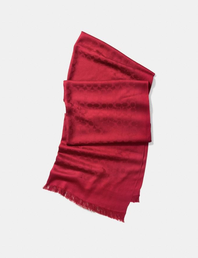 Coach Signature Stole True Red Women Accessories Scarves